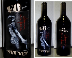Crazy Ugly / Vo Nguyen etched wine bottle Comic Art